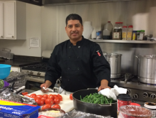 Pastor Marco Estrada, a former casino cook, now enjoys cooking for his congregation.