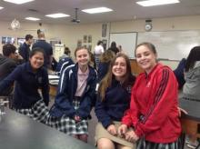 Class of 2021 students Heidi Davis, Allison Erdelyi, Annicka Hoffman and Hope Griseto take a break during Physics class.