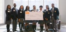 Pine Forge Academy students join academy trustees and Thomas Lynch, CEO of TE Connectivity