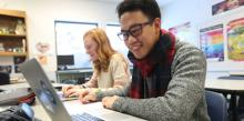 Richmond Adventist Academy students Rebekah Eley and Owen Pagunsan are photgraphed by Andrew Shurtleff/AP