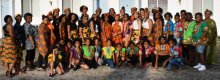 "Attendees of the first Cultural Heritage/Awareness Day wear traditional African attire, that, as one camper puts it, ""made us look and feel like royalty."""