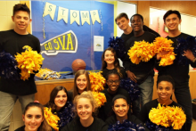 S.T.O.M.P. team members (front row) Nicole Mikov, Rachel Breakie, Grace Betances, Shaine Price; (middle row) Grace Lawrence, Annika Cambigue, Devaney Ross; and (back row) Kobe Wilkins, Ally McCoy, Ayden McCoy, Deejion Jackson-Cook and Max Shull promote school spirit in the SVA hallways.