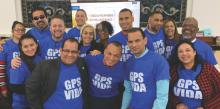Miembros de la iglesia Adventista Lehigh Valley de la conferencia de Pennsylvania en Allentown se preparan para el evento evangelístico GPS Vida.