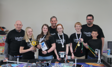 SVAE's robotics team places first in three categories at the national robotics competition in Florida. (Left to right) Coach Bill Dodge, Emma Davis, Olivia Patrick, Coach Gordon Miller, Lora Moulder, Michael White, Coach Mike Moulder and Dakota  Gullatte.