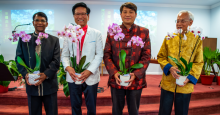 Current and former pastors Ebenezer Samuel, Joseph Jiao, Akira Chang and Oliver Koh receive orchids as a small token of appreciation for their dedicated service and commitment to the church.