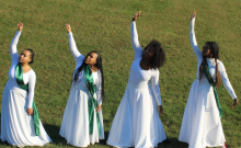 Ministry in Motion members Bria Bernard ('21), Camille Stepney ('21), Andrea Gibbons ('21) and Zipporah Leonce ('22) appear in an outdoor video.