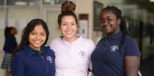 Shenandoah Valley Academy students Cynthia Chavez-Moreno '19, Giselle Villatoro '20 and Bridget Moonga '19 gather. Photo by Laura Short