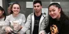 """Sophomores Karissa Smith, Nick Toscano and Eloise Tran experience a """"soup miracle"""" at a homeless shelter in Washington, D.C."""