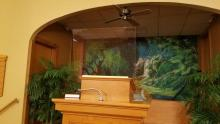 Joshua Bandel, a member at Pennsylvania Conference's Washington church, installed the plexiglass shield on the pulpit.