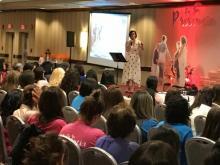 Elisa Maragoto, principal of the Lake Nelson Adventist Academy in Piscataway, N.J., speaks at the Hispanic Women's Retreat.