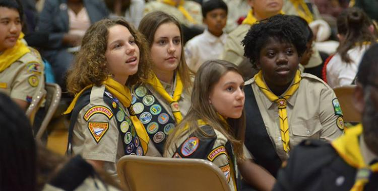 Members of the Charleston Pathfinder club participate in the Columbia Union Conference Pathfinder Bible Experience event at Blue Mountain Academy. Photo by Illac Martinez