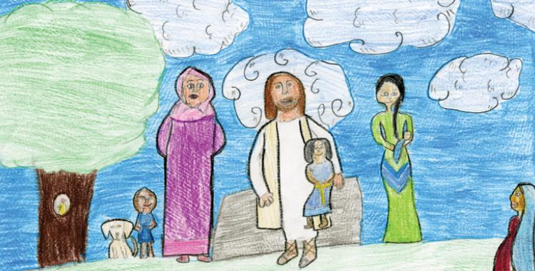 Jesus Blesses the Children by Dylan Johnson for the 2019 Columbia Union Calendar.