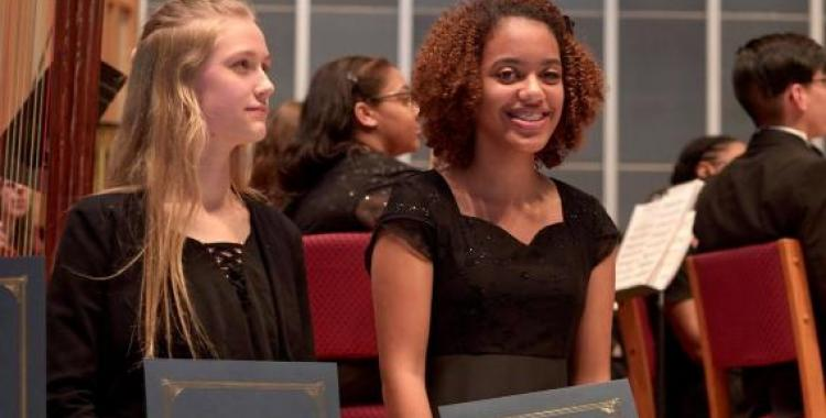 Blue Mountain Academy student Summer Dekle and Spencerville Adventist Academy Student Darysa Gregory receive scholarships.