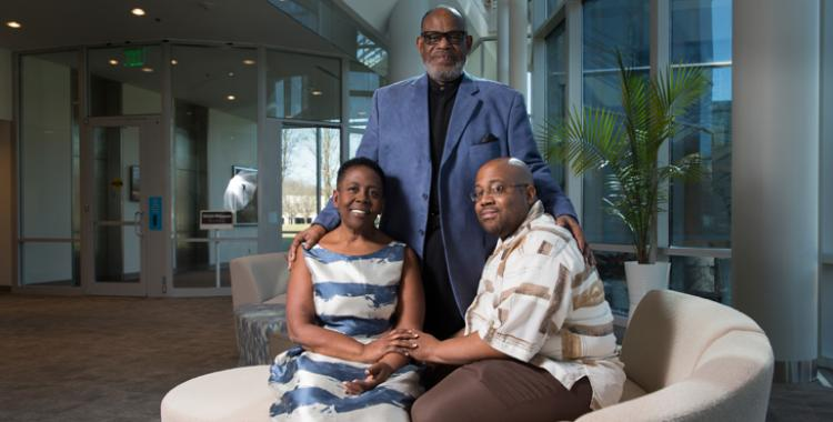 Joshua Roberts/AP Images photographed Lois and Leroy Peters, and their son, Leroy.