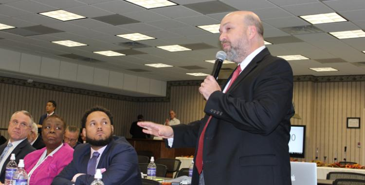 David Dildy, an executive committee member from the Potomac Conference, speaks during the November Columbia Union Conference Executive Committee Meeting