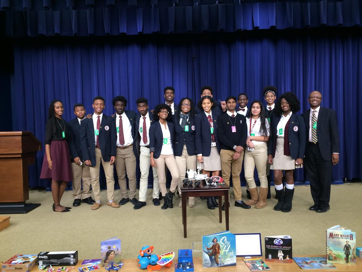 Members of the Takoma Academy's Enginerring Club, including Sheri Thorne (left) and Ronnie Mills (right), co-advisors of TA's Naitonal Society of Black Engineers Junior Chapter, attend a private screening of the film Hidden Figures at the White House.