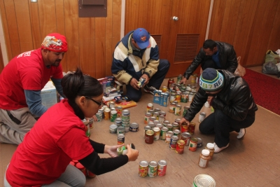 Church members in Southern New Jersey sorting food basket at the Vine Haven School in Vineland.
