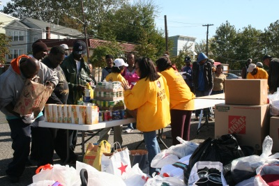 Paterson flood victims receiving food.